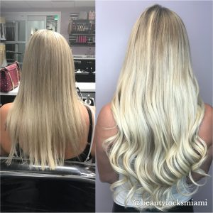 Keratin blond extensions
